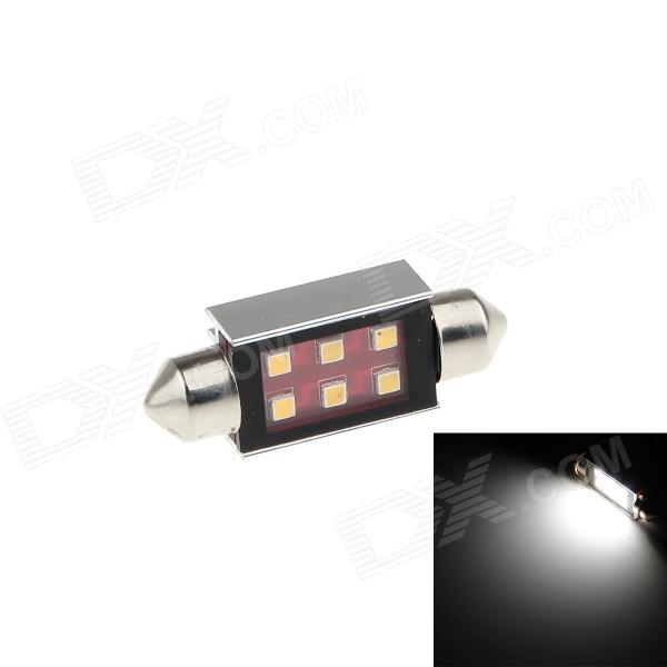 HJ-044 Festoon 41mm 6W 350lm 6 x SMD 2323 LED White Light Car Reading / Roof / Dome Lamp - (2 PCS)