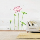 Cool Breeze Blowing Lotus Bedroom / TV Set Backdrop Removable Wall Sticker - Multicolored