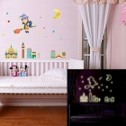 DIY Decorative Moon Girl Luminious Wall Sticker - Multicolored