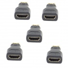 HZDZ MINI HDMI Male to HDMI Female Adapter - Black (5 PCS)