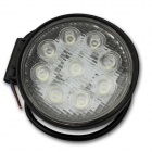 Flood 27W 1900lm 6000K 9-LED White Light Offroad Car Light / Circular Working Lamp - (DC 12~24V)
