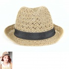 British Style Black Edges Straw Hat - Black + Brown