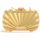 Fashionable Stylish Hard Shell Evening Minaudiere Box - Golden