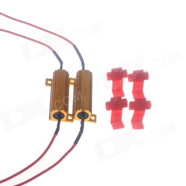 50W 6RJ Car LED Resistor Decoder - Golden + Red  (2 PCS) 50w 25 led red