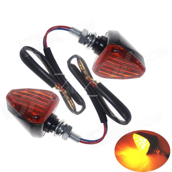 Waterproof DIY 2W 112lm 13-LED Yellow Light Motorcycle Steering Lamp - Black + Red (12V / 2 PCS) dwcx motorcycle adjustable chain tensioner bolt on roller motocross for harley honda dirt street bike atv banshee suzuki chopper