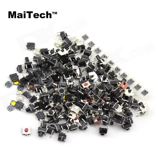 MaiTech A180 Monitor Key Notebook Switch / SMD Keys 18 kinds - Black + Silver (180 PCS) maitech 12 x 8mm 63v100uf electrolytic capacitors black 10 pcs