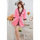 1159 Moda Ice Silk + Lace Sleepshirts para as Mulheres - Deep Pink + Black (Free Size)