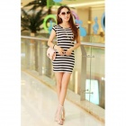 Q01 Fashionable Stripe Pattern Milk Silk Skinny Dress - White + Black (M)