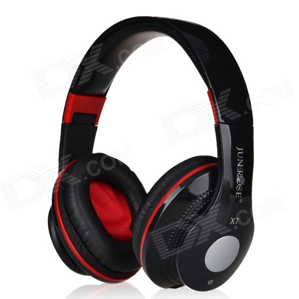 JUNEROSE JR-X7 Stereo Headset w/ Microphone - Black + Red (3.5mm Plug / 127cm-Cable) gorsun m962 stereo pc game headset headphones w microphone black red 3 5mm plug 200cm cable