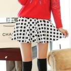 HQS-0001490 Fashionable Sweet Polka Dot Pattern Flared Mini Skirt - White + Black