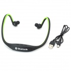 Rechargeable Sports Music Bluetooth V3.0 Headset w/ Microphone - Black + Green