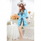 1159 Fashion Ice Silk + Lace Sleepshirts for Women - Blue + Black (Free Size)