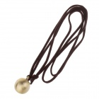 HC004 Unique Fashion Zinc Alloy Ball stil anheng PU Leather Halskjede - gylne + Brown