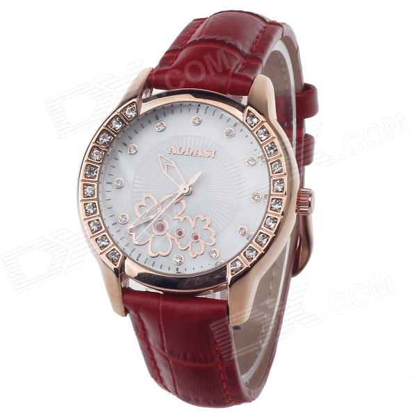 AODASI 4299L Fashionable Women's Quartz Wrist Watch w/ Rhinestone Decoration - Red + Rose Gold [zob] arnl2 0101 idec imported from japan and the spring interlocked rocker switch lever arnl2 0202