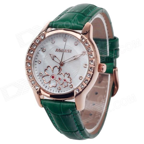 AODASI 4299L Fashionable Womens Quartz Wrist Watch w/ Rhinestone Decoration - Green + Rose Gold - DXWomens Dress Watches<br>Movement: High quality movement Imported from Japan Case: High quality copper zinc alloy watch case + Tempered glass lens Buckles: Practical needle button clasp Watchband: High-quality anti-perspiration corrosion resistance of cow split leather wristband Feature: High quality imported precision machine high precision strong anti-jamming. Waterproof test meet the needs of your daily life. The overall design is free from vulgarity and modern very suitable for young ladies wear. Sell like hot cakes home and abroad.<br>