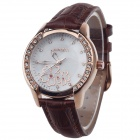 AODASI 4299L Fashionable Women's Quartz Wrist Watch w/ Rhinestone Decoration - Brown + Rose Gold