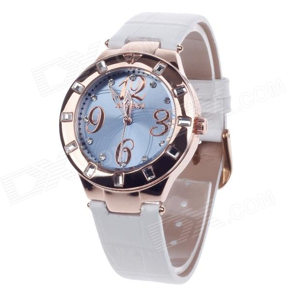 AODASI 4279L Stylish Women's Quartz Wrist Watch w/ Rhinestone Decoration - White + Rose Gold [zob] arnl2 0101 idec imported from japan and the spring interlocked rocker switch lever arnl2 0202
