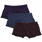 Checkered Pattern Men's Soft Modal Boxers Underwear - Purple + Blue + Brown (Free Size / 3 PCS)