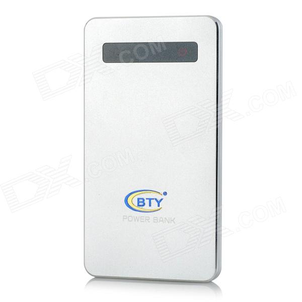 "BTY NST-0021 ""6500mAh"" Power Bank External Battery Charger w/ Touch Switch - Silver"