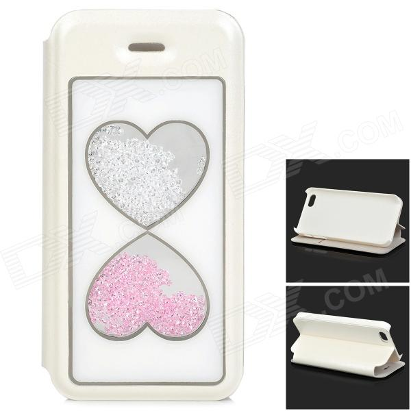 Flip-Open Crystal Heart Style PU Leather + Plastic Case w/ Stand for IPHONE 5 / 5S - White