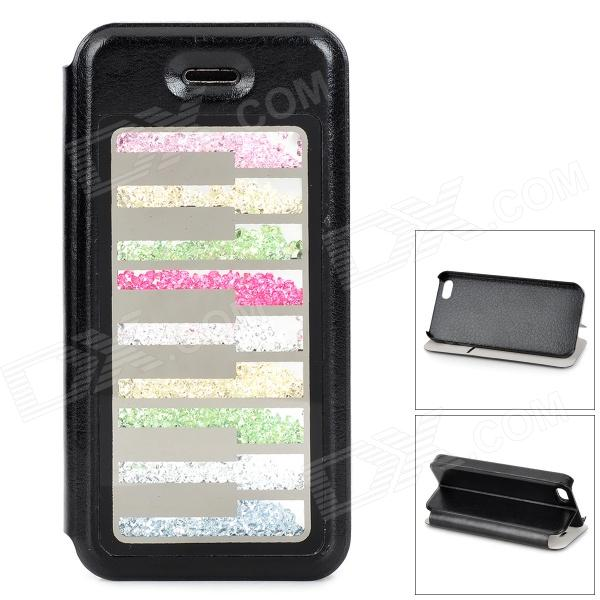 Crystal Piano Key Style Flip-Open PU Leather + Plastic Back Case for IPHONE 5 / 5S - Black solid color litchi pattern wallet style front buckle flip pu leather case with card slots for doogee x10