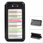 Crystal Piano Key Style Flip-Open PU Leather + Plastic Back Case for IPHONE 5 / 5S - Black