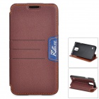 LGR-S03 Protective PU Flip-Open Case w/ Card Slot / Stand for Samsung Galaxy S5 - Brown
