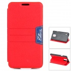 LGR-S03 Protective PU Flip-Open Case w/ Card Slot / Stand for Samsung Galaxy S5 - Red