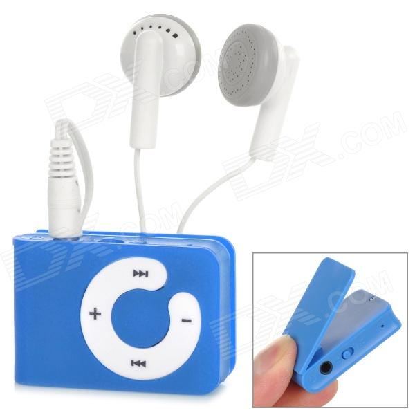 B001 Mini MP3 Player w/ TF Card Slot  / 3.5mm Earphone / USB Cable - Dark Blue + White (16G)
