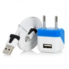 AC Power Adapter w/ USB Output + Charging/Data Cable for Samsung / HTC / LG (EU Plug/110~240V)