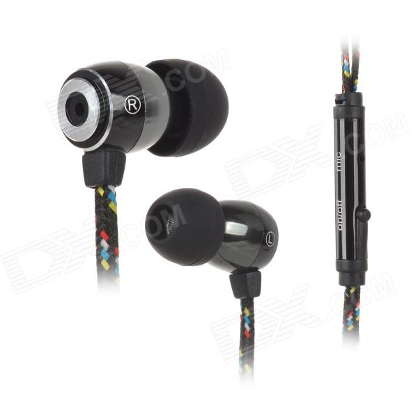 HXT-2028 Universal Nylon 3.5mm Jack In-Ear Earphone for MP3 / IPHONE / Samsung / Dopod (115cm)