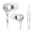 HXT-2028 Stylish In-Ear Nylon Cable Earphones w/ Microphone for Samsung / IPHONE / Xiaomi
