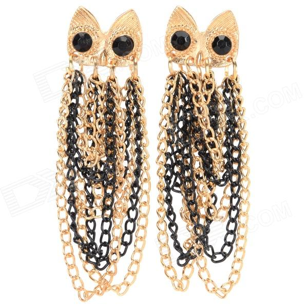 BELIYA E-14022401 Fashionable Owl Tassel Earrings - Black + Gold (2 PCS)