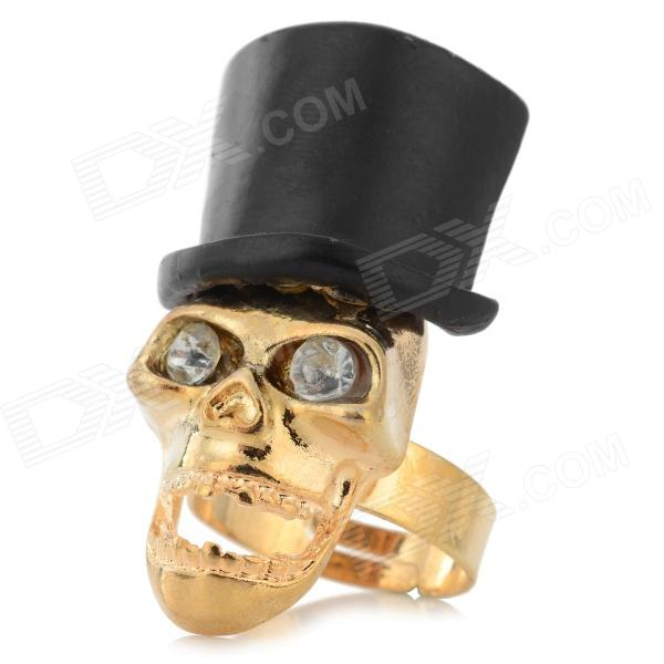 BELIYA R-14022407 Retro Skull Finger Ring - Golden Yellow + Black
