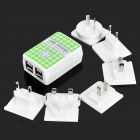CT76-UNI 6-i-1 reise Dual-USB USA / EU / UK / AU / koreansk / kinesisk AC Power adaptere Kit
