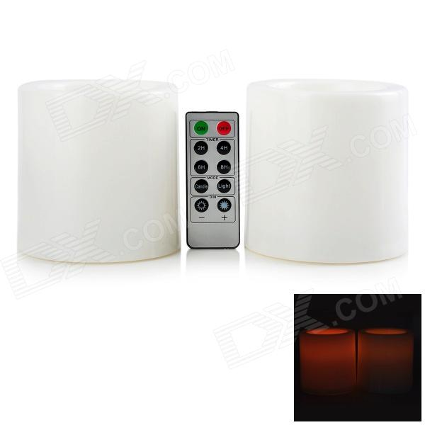 BZ 017 LED Yellow Light Plastic Candle w/ 10-Key Remote Controller (Pair / 3 x AA)
