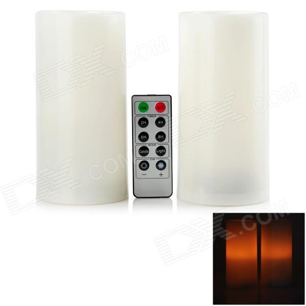 BZ 016 LED Yellow Light Plastic Candle w/ 10-Key Remote Controller (Pair / 2 x AA)