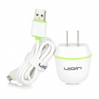Ujoin VT1A Travel AC Power Adapter w/ USB to Micro USB Cable - White + Green (US Plugs)