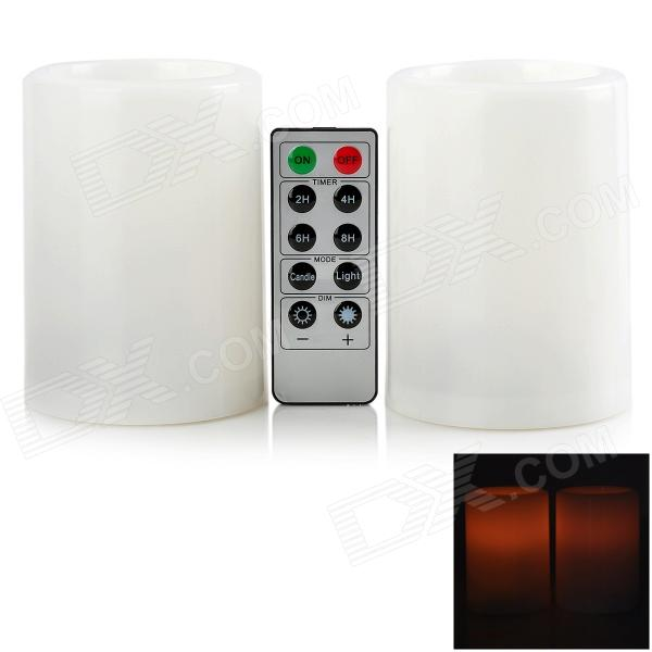 BZ 018 LED Yellow Light Plastic Candle w/ 10-Key Remote Controller (Pair / 2 x AA)