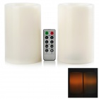 BZ 015 LED Yellow Light Plastic Candle w/ 10-Key Remote Controller (Pair / 3 x AA)