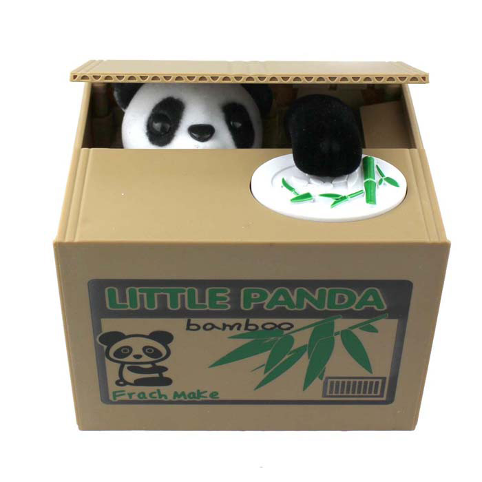 Super Cute Panda Automatically Piggy Coin Bank - Khaki + White (2 x AA) чехол для карточек cute panda дк2017 117