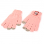 Smart Bluetooth V3.0 Handsfree Touch Control Warm Knitted Gloves - Light Pink + Black (2 PCS)