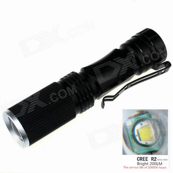ZSJ-B18 200lm 3-Mode White Light Zooming Flashlight - Black (1*14500)