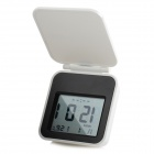 "AQ133 Pocket 2.2"" LCD Travel Alarm Clock w/ Backlight / Snooze Function - White + Black (2 x CR2025)"