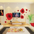 Quiet Red Roses Blossoming the Whole House Removable Wall Sticker - Red