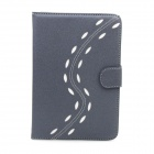 Stylish S-Shape Protective PU Leather Case Cover Stand w/ Auto Sleep for IPAD MINI 1 / 2 - Grey