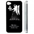 ZH01 Virgo Pattern LED Flash Light Color Changing Protective ABS Back Case for IPHONE 4 / 4S - Black