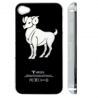ZH01 Aries Pattern LED Flash Light Color Changing Protective ABS Back Case for IPHONE 4 / 4S - Black