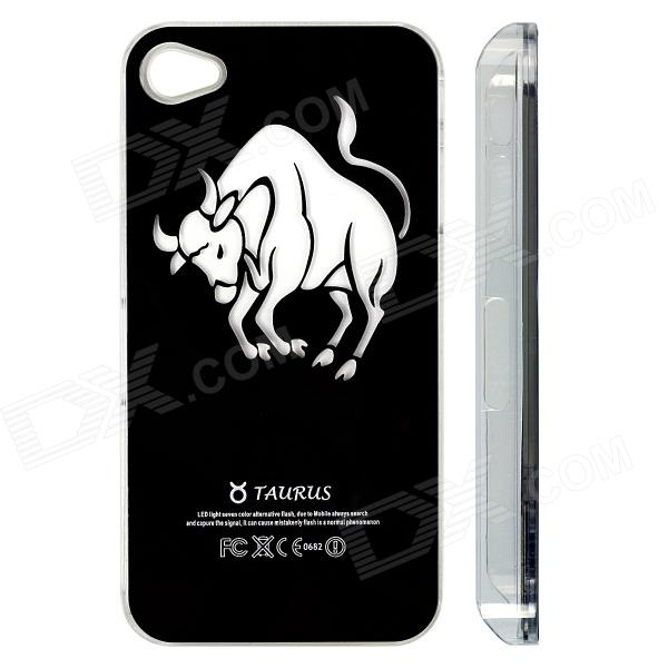 ZH01 Taurus Pattern LED Flash Light Color Changing Protective ABS Back Case for IPHONE 4 / 4S -Black zh01 good luck dragon pattern led flash light color changing protective back case for iphone 4 4s