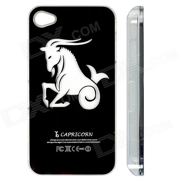 ZH01 Capricorno modello LED Flash Light protettivo ABS custodia posteriore per iPhone 4 / 4S - nero